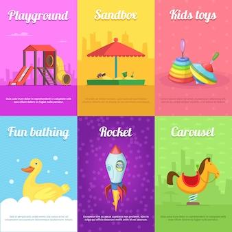 Tarjetas para niños con juguetes divertidos.