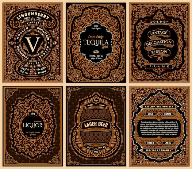 Tarjetas de oro vintage y marcos caligráficos.