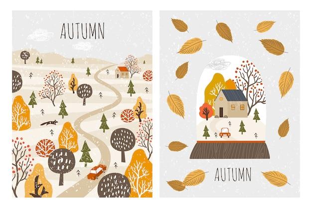 Tarjetas de paisaje otoñal. otoño