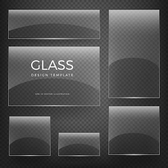 Tarjetas y pancartas vacías brillantes verticales y horizontales en blanco de vidrio transparente sobre fondo a cuadros
