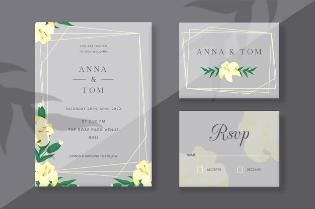 Tarjetas de papelería de boda con flores de primavera