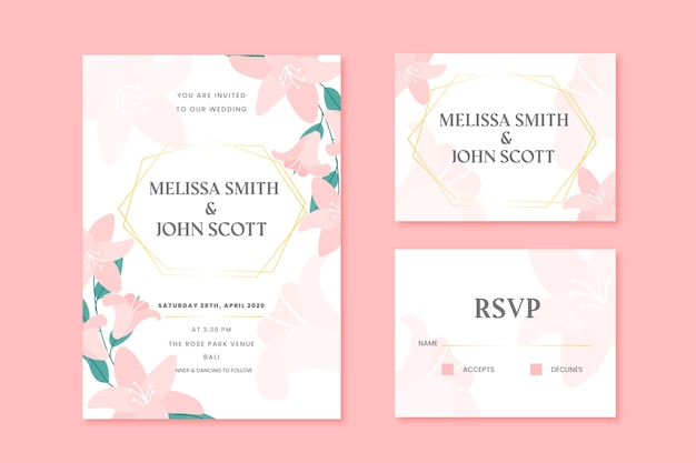 Tarjetas de papelería de boda con flores rosas