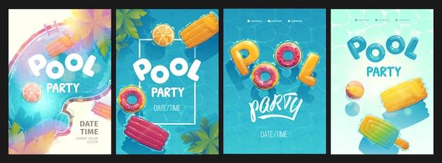 Tarjetas de piscina creativas ilustradas.