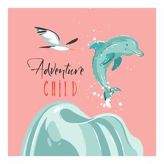 Tarjetas de plantilla de ilustraciones de dibujos animados abstractos dibujados a mano de verano con puesta de sol, pájaros gaviotas, delfines y texto de tipografía de adventure child en la playa sobre fondo rosa pastel
