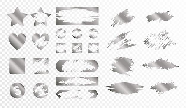 Tarjetas de rascar de diferentes formas monocromo conjunto aislado ilustración plana