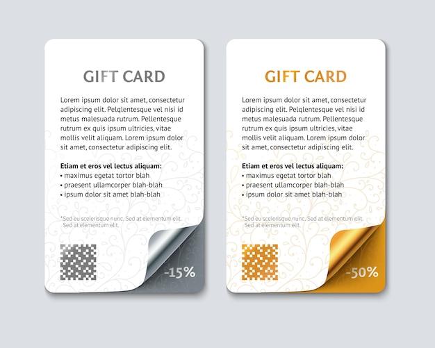 Tarjetas de regalo de color de plantilla para promoción, venta minorista, venta.