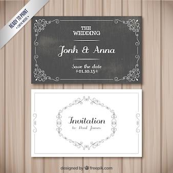 Tarjetas retro de boda