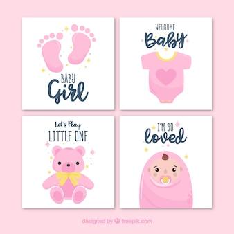 Tarjetas rosa de bienvenida al bebé