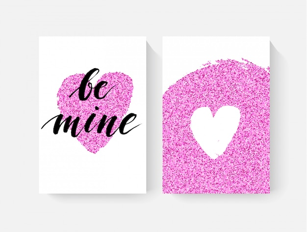 Tarjetas de san valentín con letras de mano y detalles de purpurina rosa
