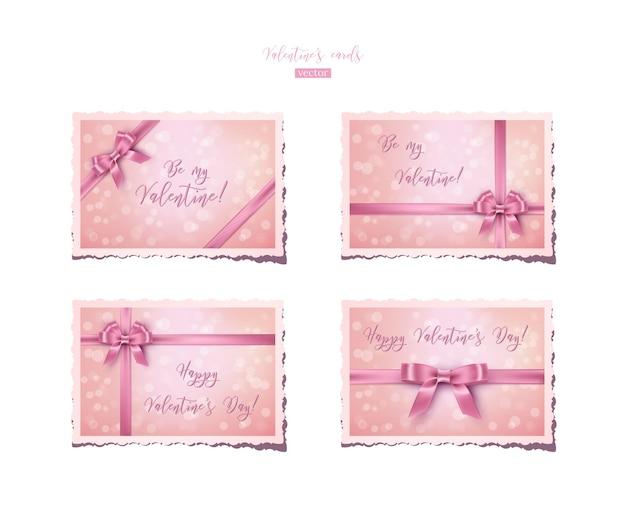 Tarjetas de san valentín rosa vintage con cintas y lazos.