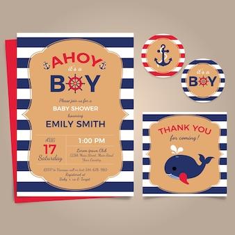 Tarjetas de tema marino para la fiesta del bebé