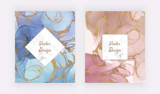 Tarjetas de tinta abstractas azules y desnudas con marco de mármol geométrico. diseño moderno abstracto acuarela