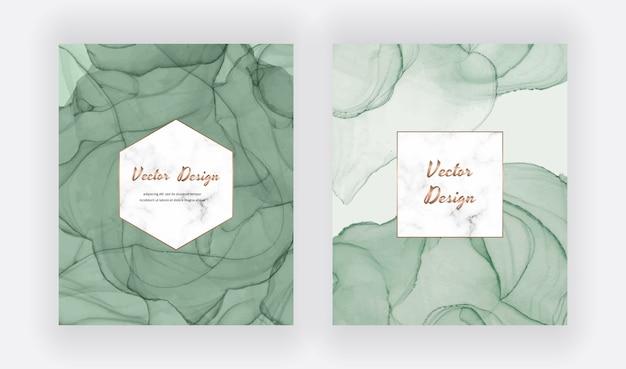 Tarjetas de tinta de alcohol verde con marco de mármol geométrico. diseño moderno abstracto acuarela.