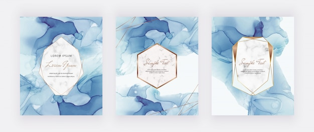 Tarjetas de tinta azul alcohol con marcos poligonales de mármol y oro.