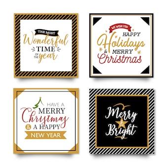 Tarjetas de tipografia de navidad