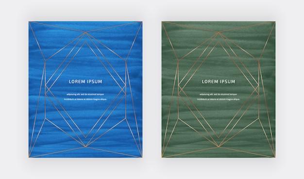 Tarjetas de trazo de pincel de acuarela azul y verde con líneas doradas marcos poligonales.