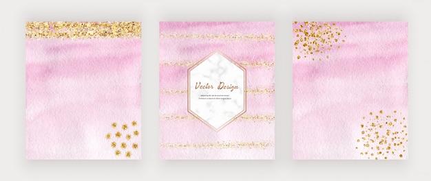 Tarjetas de trazo de pincel de acuarela rosa con confeti dorado brillante y marco hexagonal de mármol.