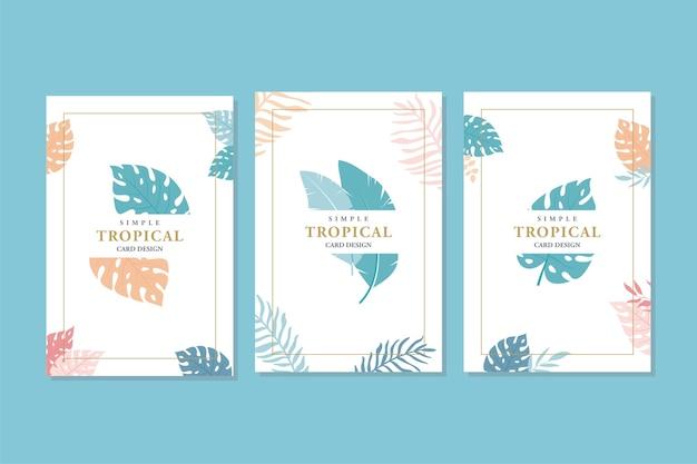 Tarjetas tropicales abstractas, estilo simple y minimalista.