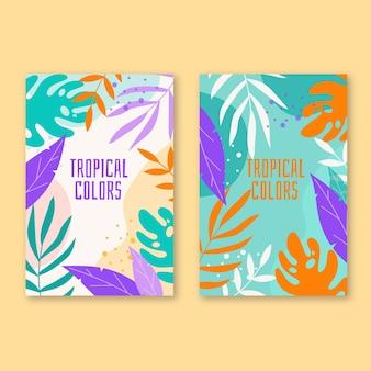 Tarjetas tropicales abstractas