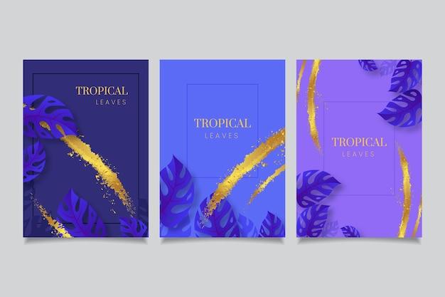 Tarjetas tropicales con toques dorados