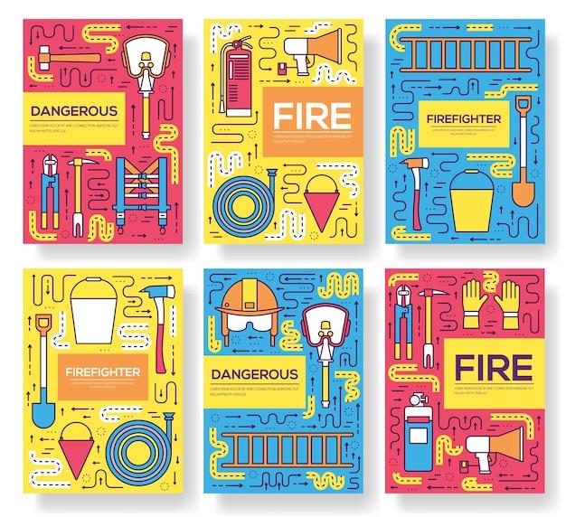 Tarjetas de uniforme de bombero juego de líneas finas. plantilla de primera ayuda de flyear, revistas, carteles.