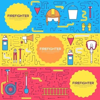 Tarjetas de uniforme de bombero plano juego de líneas finas. primera plantilla de ayuda de flyear, revistas, pancartas.