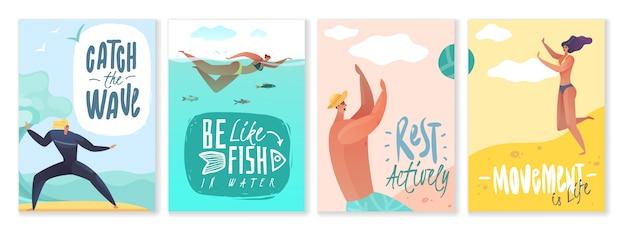 Tarjetas de vacaciones de verano. conjunto de cuatro carteles verticales sobre el tema de actividades al aire libre en la playa sobre fondo blanco con lemas motivacionales y citas actividad de descanso vida verano