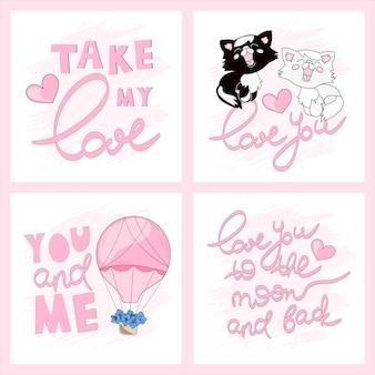 Tarjetas valentinas saludo de dibujos animados vector ilustración conjunto