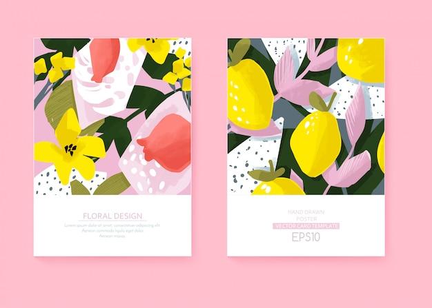 Tarjetas de vector lindo con diseño floral y fruta. flores y hojas