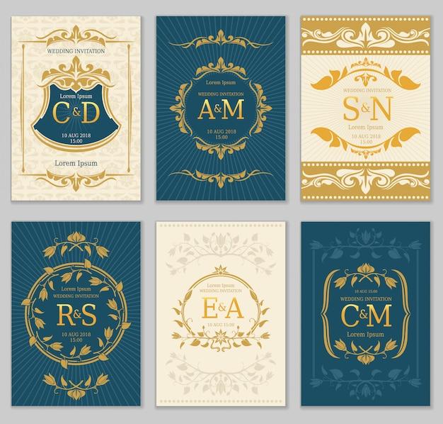Tarjetas de vectores de invitación de boda vintage de lujo con logo monogramas y marco adornado