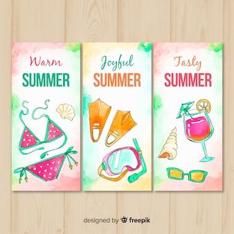 Tarjetas de verano en acuarela