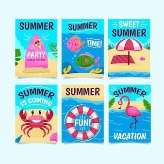 Tarjetas de verano con arena y océano.