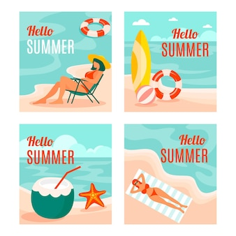 Tarjetas de verano en colección de diseño plano