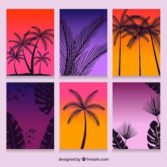 Tarjetas de verano con degradado y siluetas de palmeras