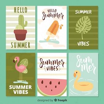 Tarjetas de verano dibujadas a mano