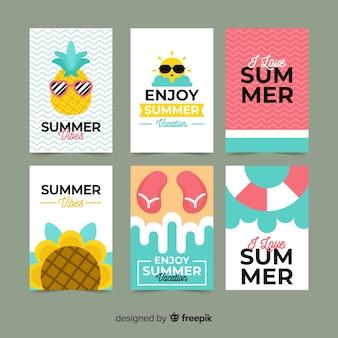 Tarjetas de verano en diseño plano