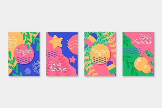 Tarjetas de verano de diseño plano