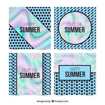 Tarjetas de verano con efecto holográfico