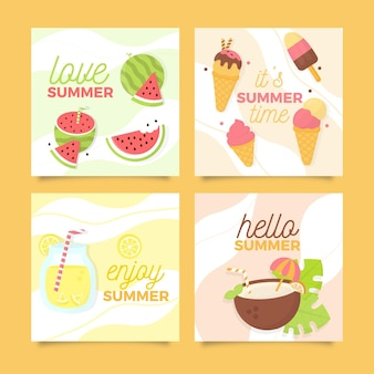 Tarjetas de verano de helado y fruta fresca