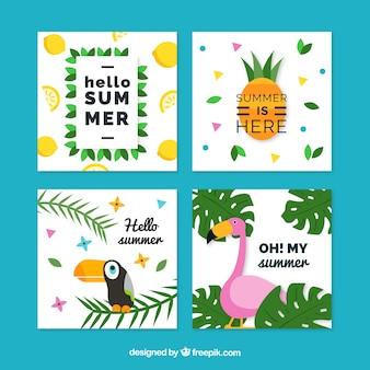 Tarjetas de verano tropical con diseño plano