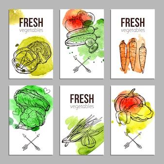 Tarjetas con verduras