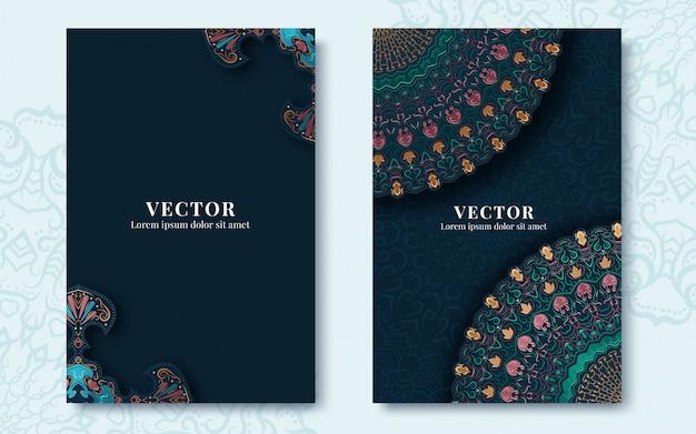 Tarjetas vintage adornadas en estilo oriental