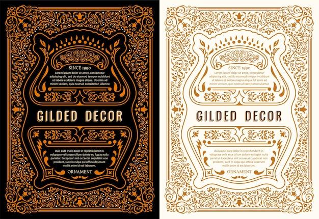 Tarjetas vintage y marcos caligráficos dorados.