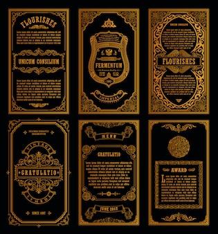 Tarjetas vintage y marcos dorados