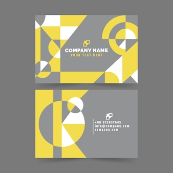 Tarjetas de visita abstractas amarillas y grises