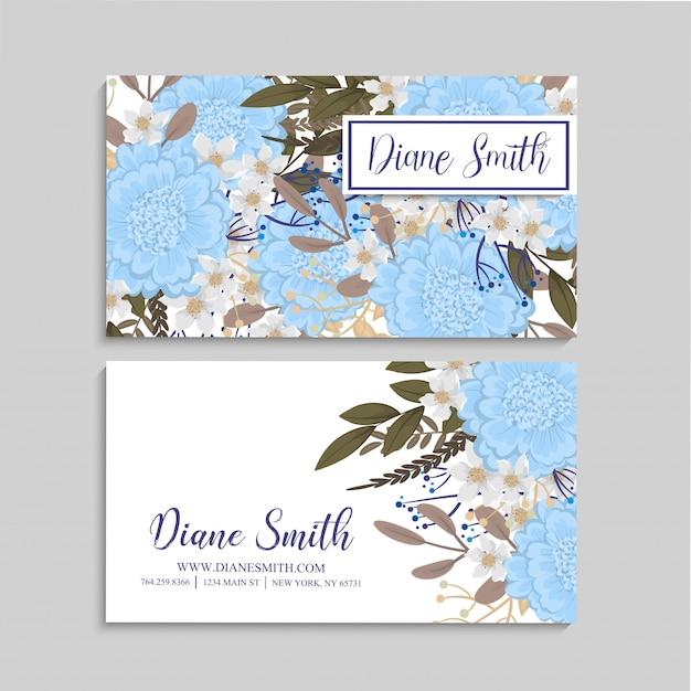 Tarjetas de visita azules claras de la flor