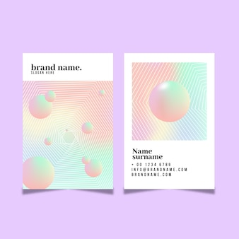Tarjetas de visita de las bolas del color en colores pastel 3d