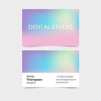 Tarjetas de visita en colores pastel gradiente