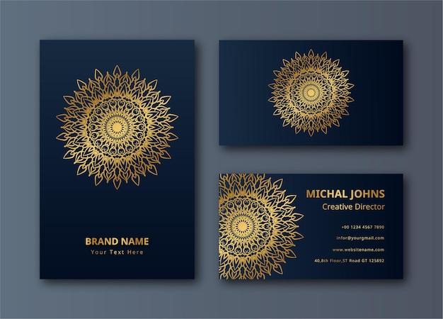 Tarjetas de visita doradas con flor oriental mandala decoración dorada fondo de vector premium