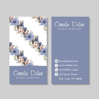 Tarjetas de visita de flor azul claro